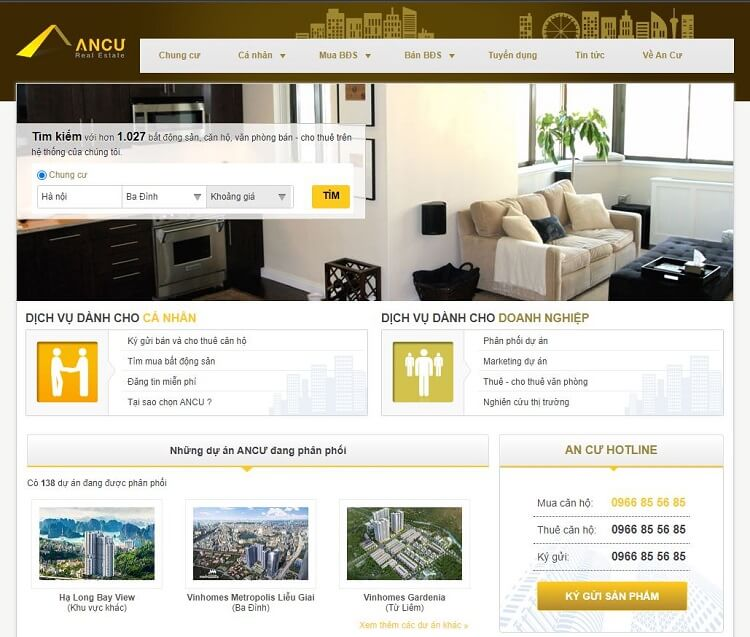 Trang chủ của wesite công ty bất động sản An Cư